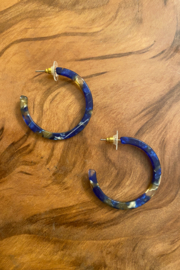 tesoro  Dark Blue Resin Hoops - Product Mini Image