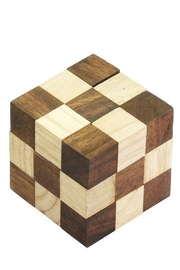 SiamMandalay Dark Brown Serpent Cube Wooden Puzzle - Product Mini Image