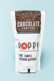 Poppy Handcrafted Popcorn Dark Chocolate Pretzel Popcorn - Front cropped