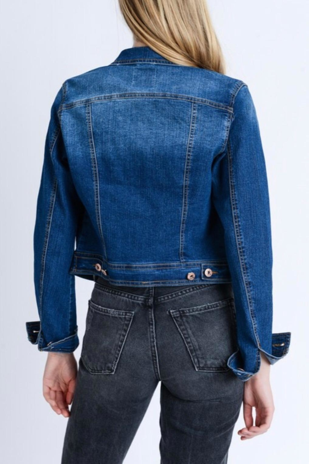 Love Tree Dark Denim Jacket - Side Cropped Image