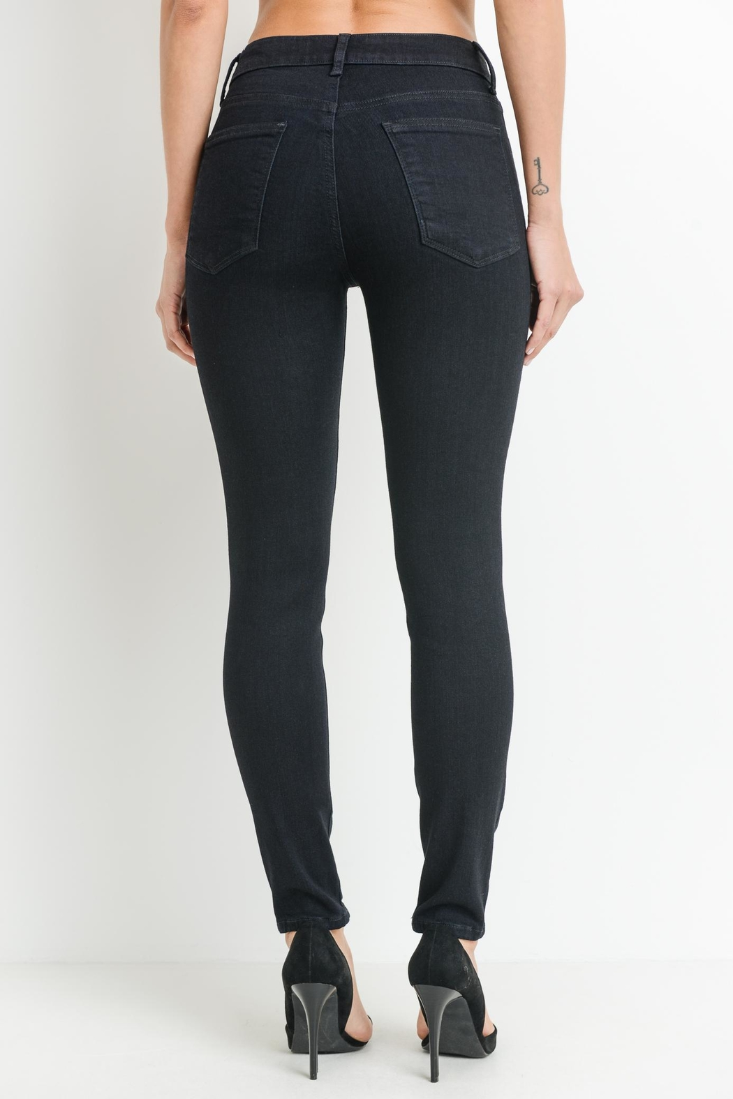 just black Dark Denim Jeans - Side Cropped Image
