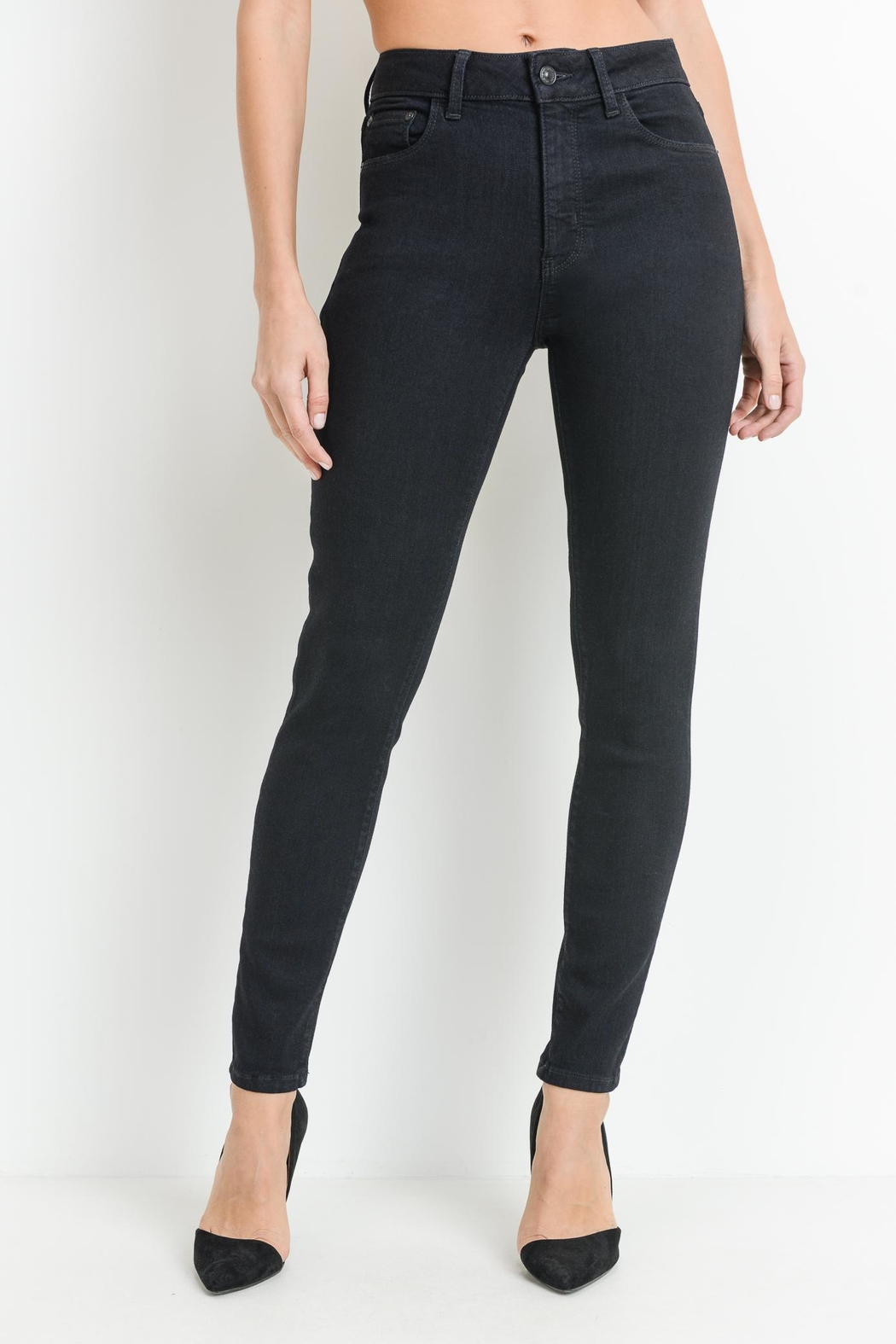 just black Dark Denim Jeans - Main Image