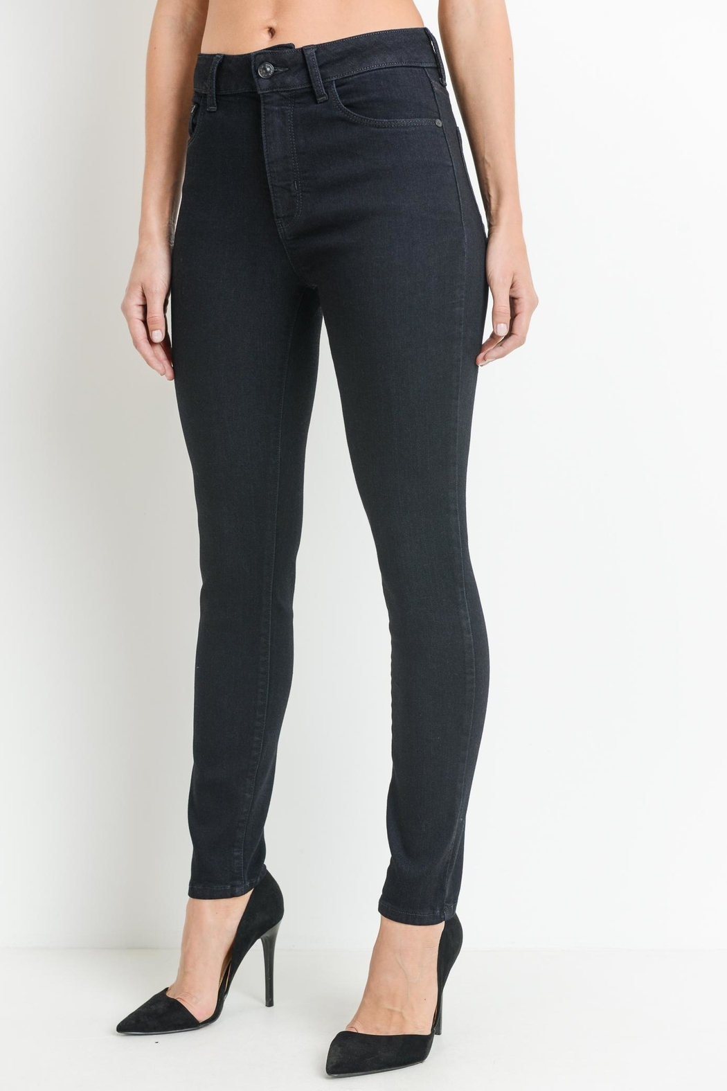 just black Dark Denim Jeans - Front Full Image