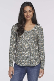 tribal  Dark Forest Green Floral Top. V-neck, long sleeves. - Front cropped