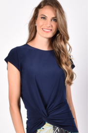Frank Lyman Dark Navy Top with knot tie on side - Product Mini Image