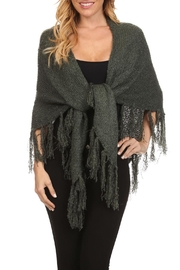 BIENBIEN Dark-Sage Green-Knit Shawl - Product Mini Image