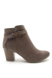 Qupid Dark Taupe Bootie - Front cropped