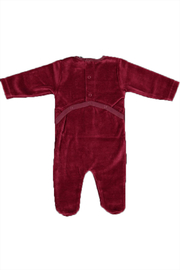 Pounds and Ounces Darkred Velour Strechy - Front full body