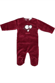 Pounds and Ounces Darkred Velour Strechy - Front cropped