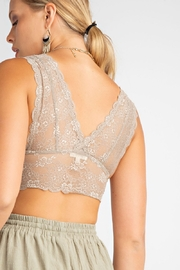 Easel  V Neck Lace Bralette - Side cropped