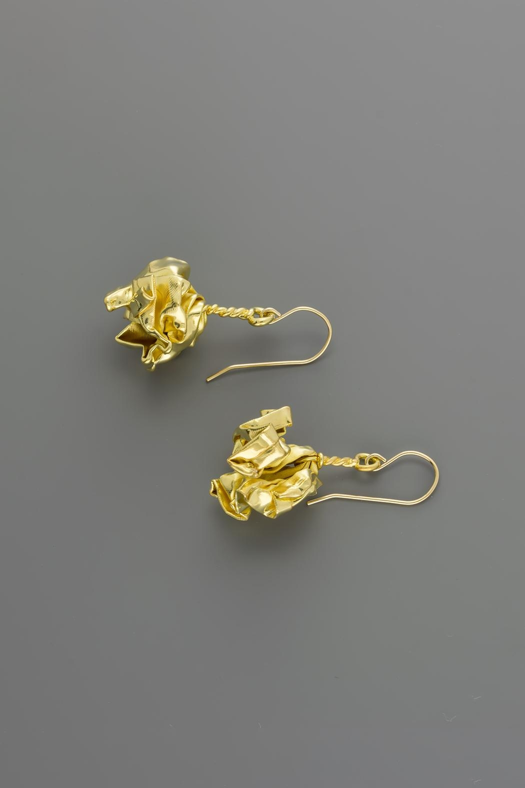 Dave + Esty Gold Fabric Earrings - Front Full Image
