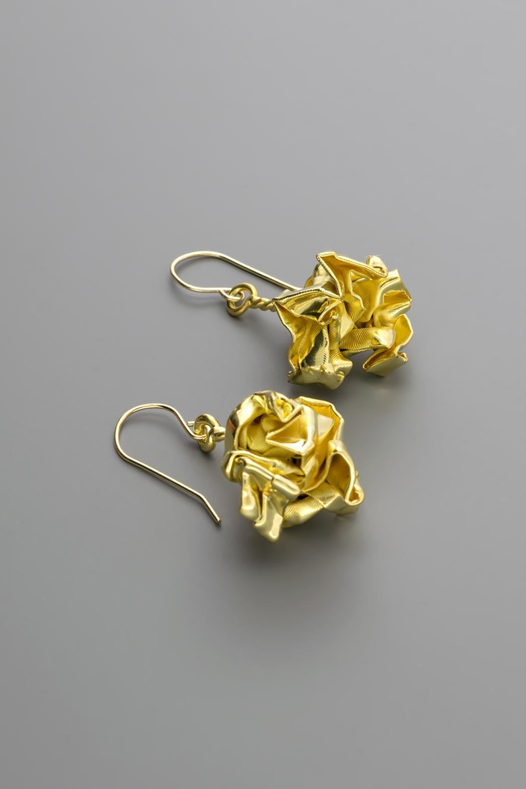 Dave + Esty Gold Fabric Earrings - Front Cropped Image
