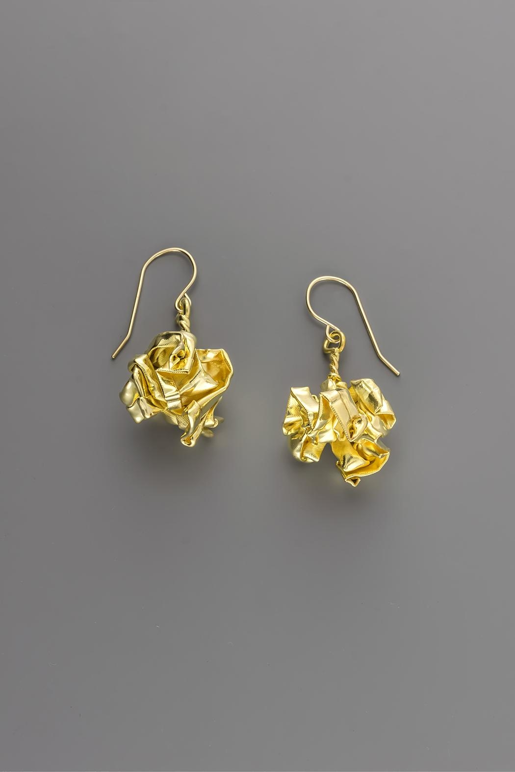 Dave + Esty Gold Fabric Earrings - Back Cropped Image