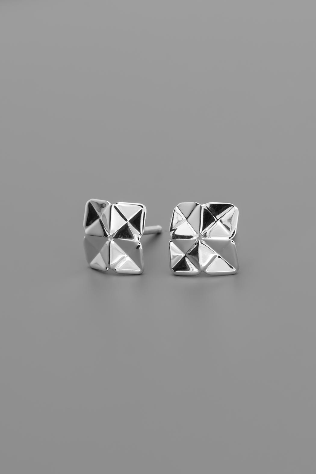Dave + Esty Square Stud Earrings - Back Cropped Image