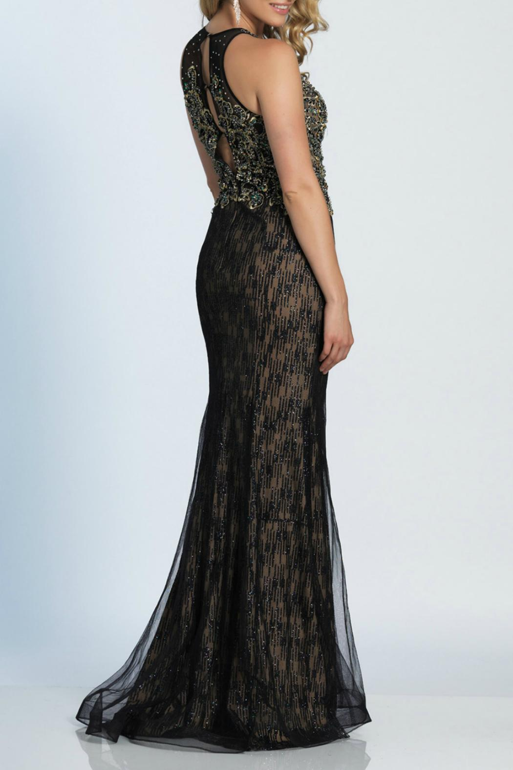 Dave and Johnny Embroidered Gown - Front Full Image
