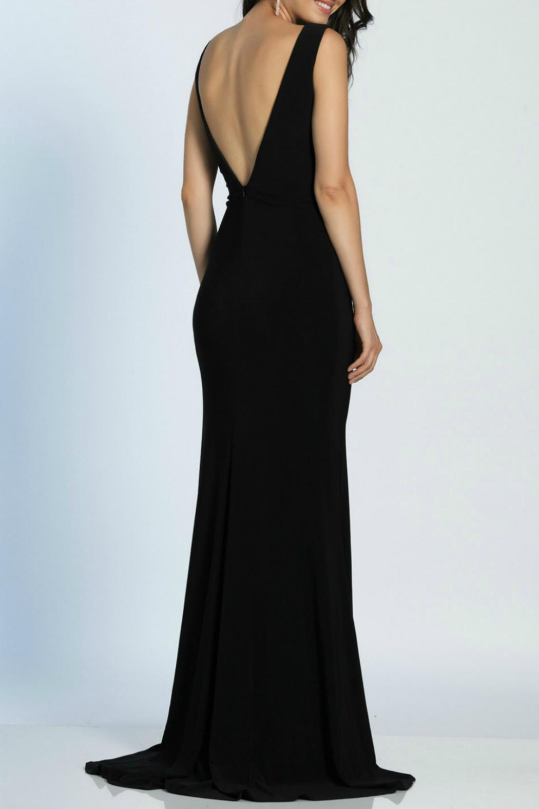 Dave and Johnny Deep V Gown - Back Cropped Image