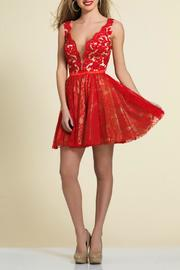 Dave and Johnny Deep V Lace Dress - Product Mini Image