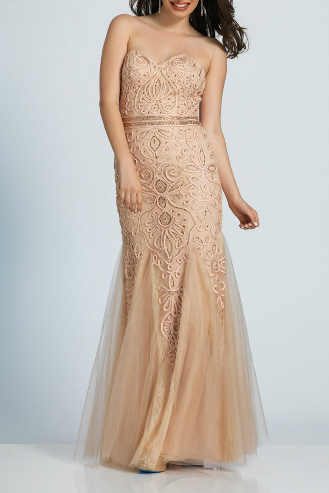 Dave and Johnny Embroidered Lace Gown - Main Image