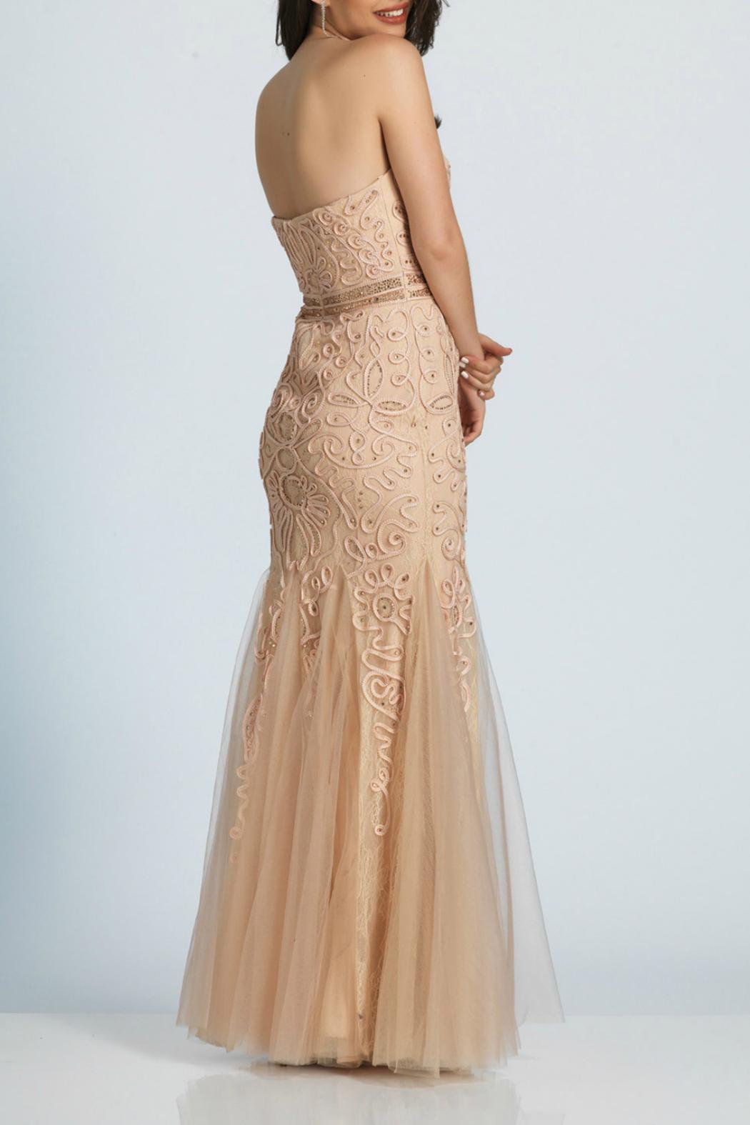 Dave and Johnny Embroidered Lace Gown - Front Full Image