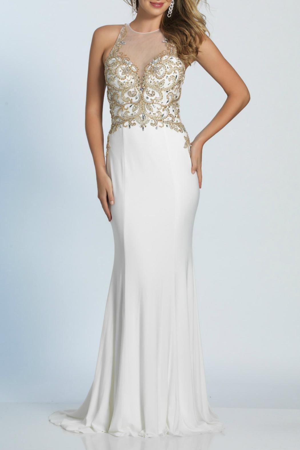 Dave and Johnny Ivory/gold Beaded Gown from Connecticut by Dress ...