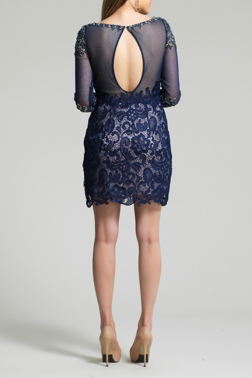 Dave and Johnny Lace Beaded Dress - Front Full Image