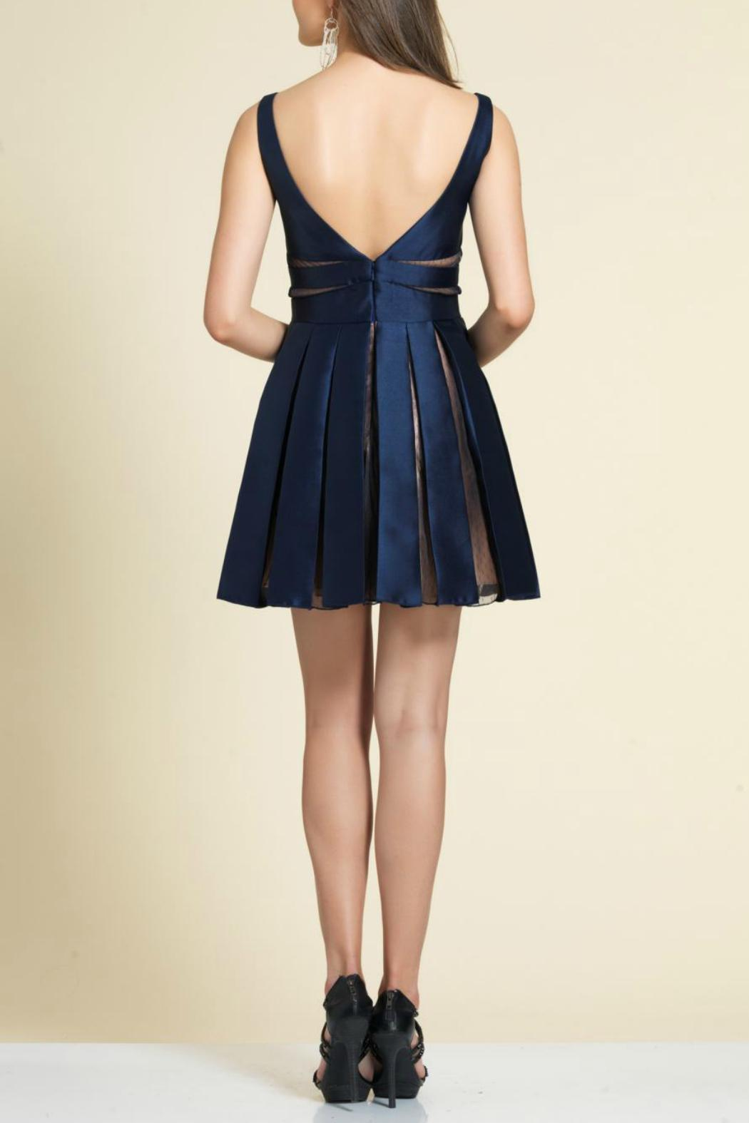 Dave and Johnny Pleated Mini Dress - Front Full Image