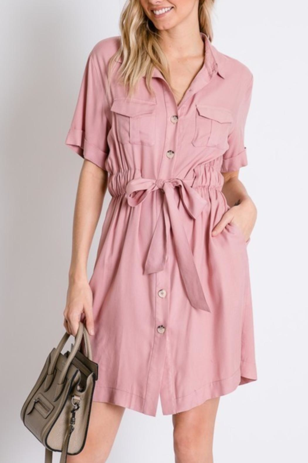 Davi & Dani Button Down Shirt-Dress - Main Image