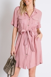 Davi & Dani Button Down Shirt-Dress - Front cropped