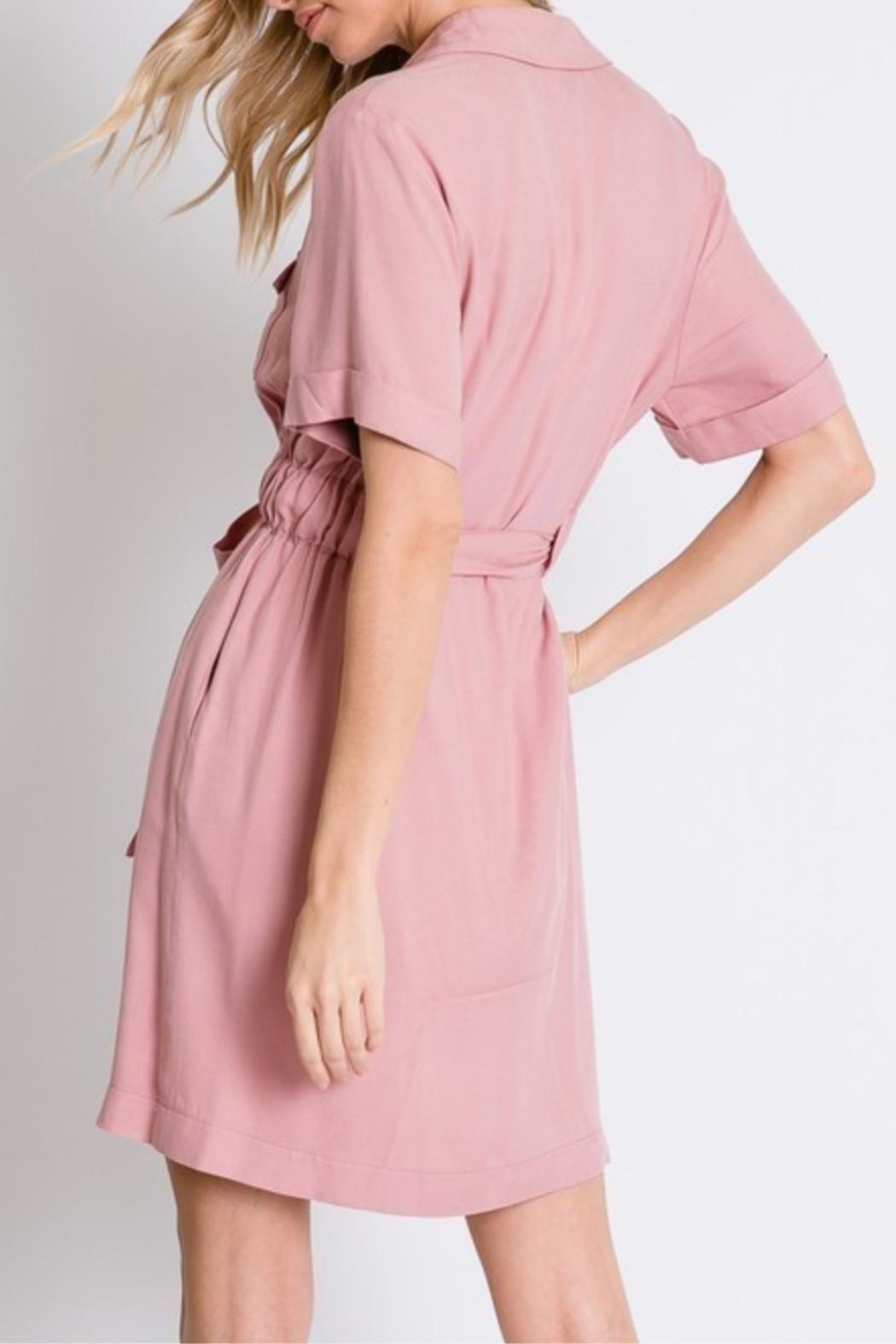 Davi & Dani Button Down Shirt-Dress - Back Cropped Image