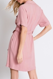 Davi & Dani Button Down Shirt-Dress - Back cropped