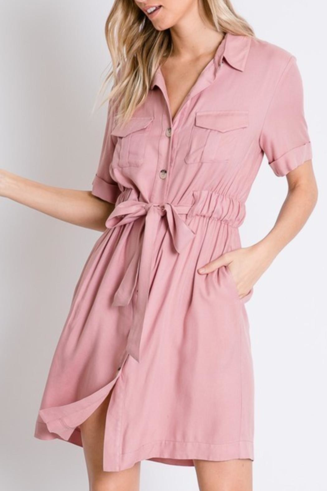 Davi & Dani Button Down Shirt-Dress - Front Full Image
