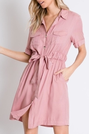 Davi & Dani Button Down Shirt-Dress - Front full body
