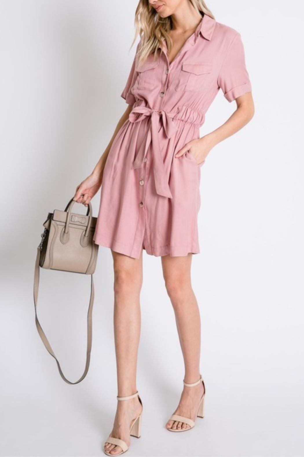 Davi & Dani Button Down Shirt-Dress - Side Cropped Image
