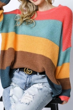 Davi & Dani Colour Block Knit Sweater - Alternate List Image