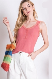 Davi & Dani Coral Tank Lace-Accents - Product Mini Image