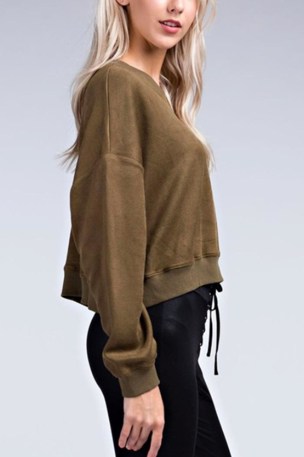 Davi & Dani Cropped Faux-Leather Sweatshirt - Front Full Image