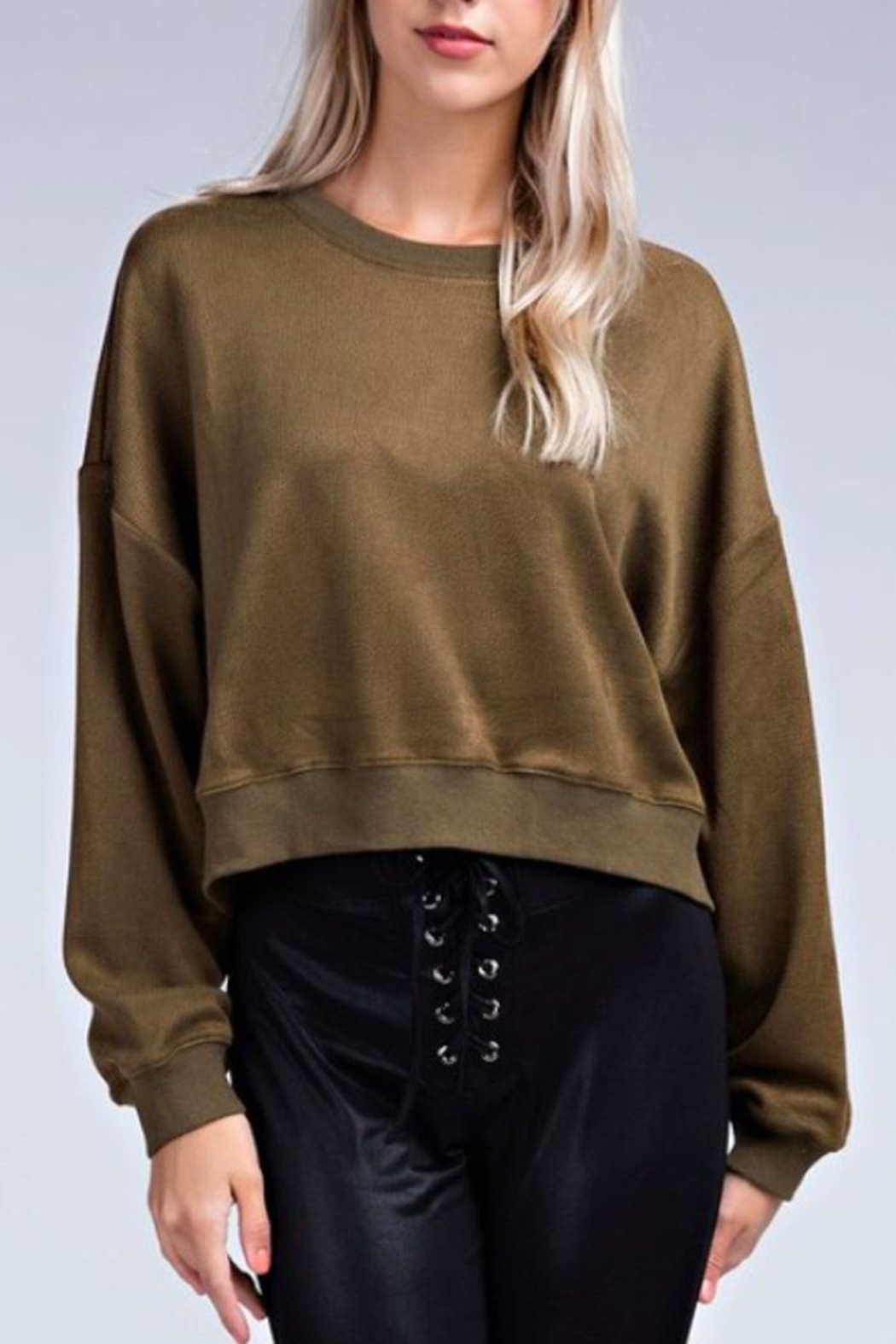 Davi & Dani Cropped Faux-Leather Sweatshirt - Main Image