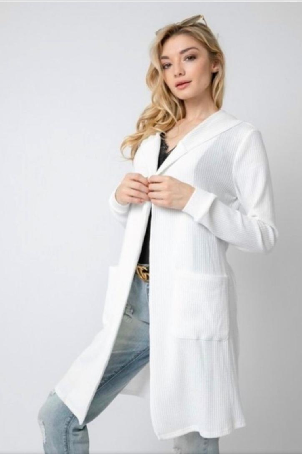 Davi & Dani Lace Up Cardigan - Side Cropped Image