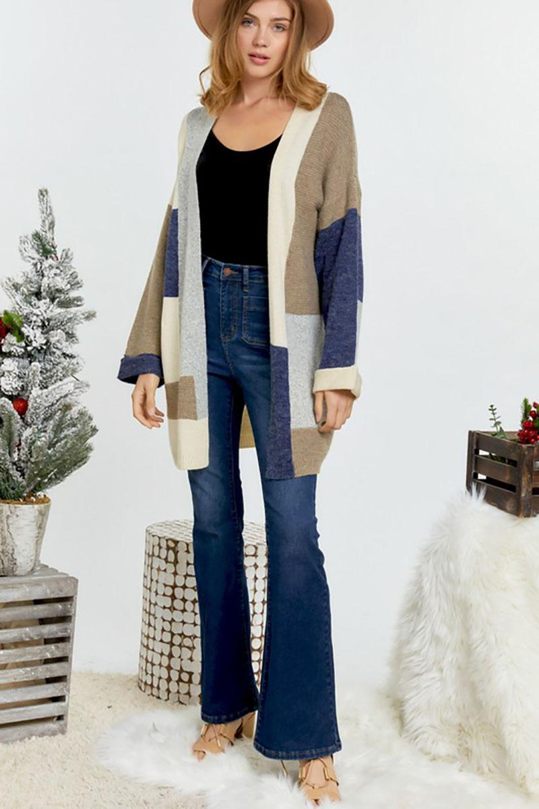 Mint Cloud Boutique Multi Color Colorblock And Stripe Knit Cardigan - Back Cropped Image