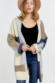 Mint Cloud Boutique Multi Color Colorblock And Stripe Knit Cardigan - Product Mini Image