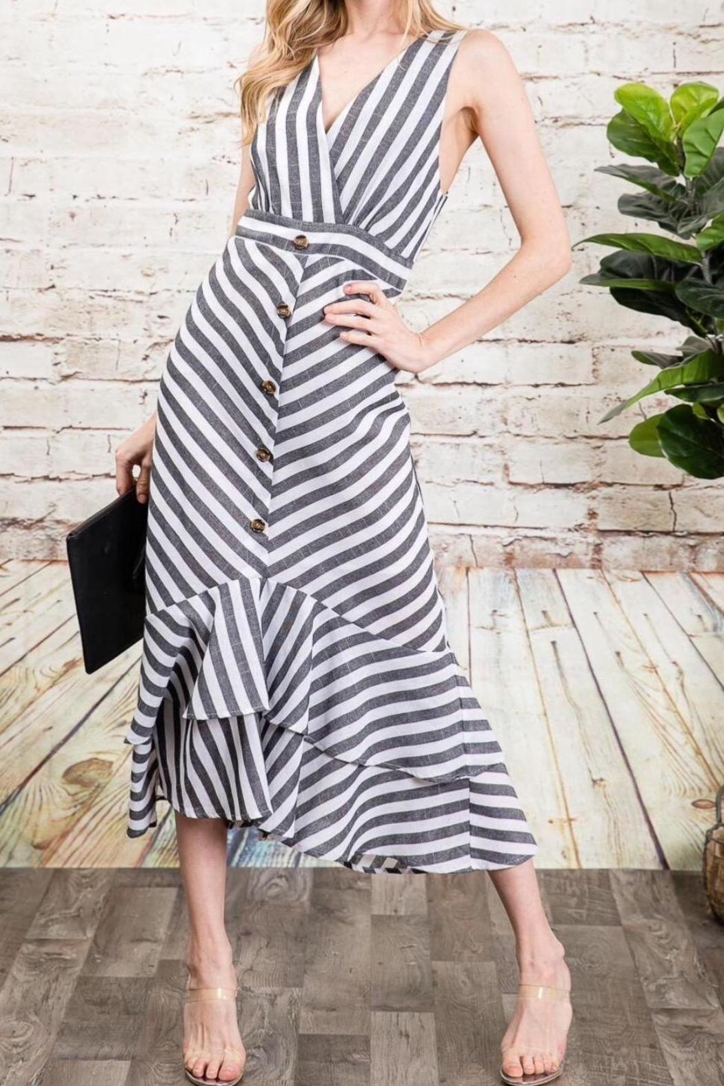 Davi & Dani Striped Button Down Midi Dress - Main Image