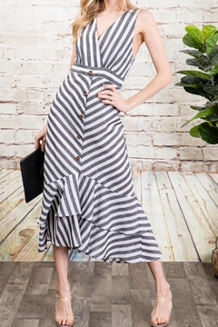 Davi & Dani Striped Button Down Midi Dress - Alternate List Image