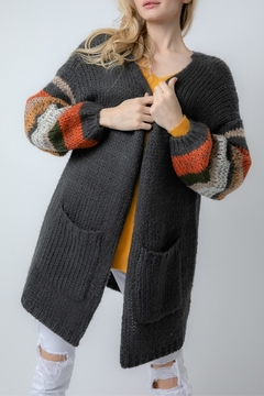 Davi & Dani Striped Cozy Cardigan - Product List Image
