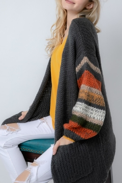 Davi & Dani Striped Cozy Cardigan - Alternate List Image