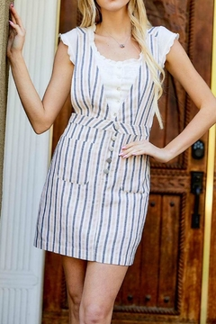 Davi & Dani Striped Overall Dress - Alternate List Image