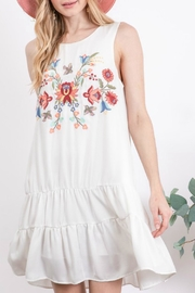 Davi & Dani Tiered Embroidery Dress - Front cropped