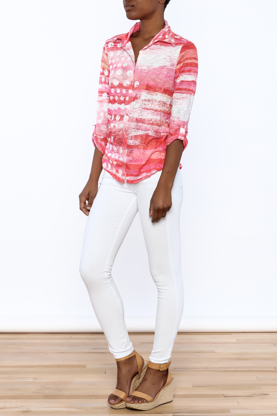 David Cline Marble Button Down Blouse - Front Full Image