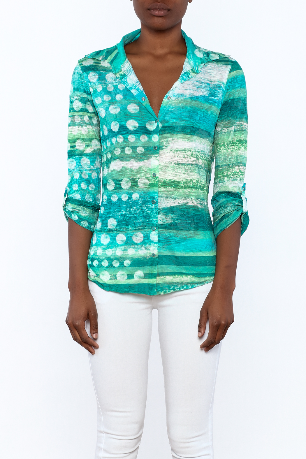 David Cline Marble Button Down Blouse - Side Cropped Image