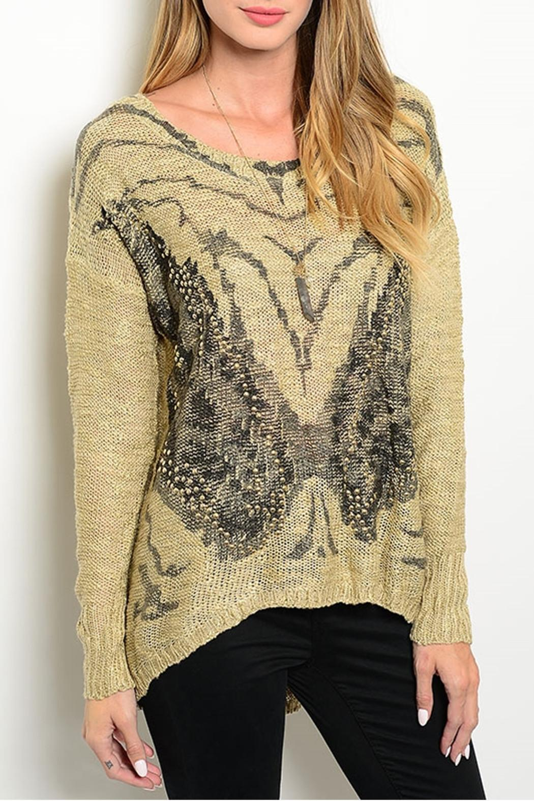 Davi & Dani Butterfly Studs Sweater - Front Cropped Image