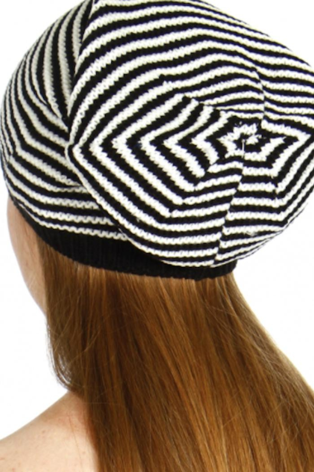 David & Young Striped Knit Beanie - Back Cropped Image
